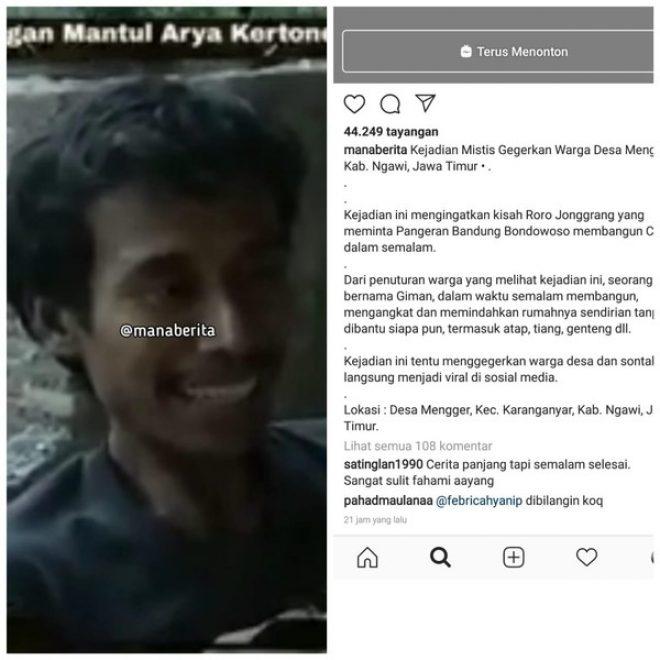 GEMPAR ! Viral Video Pria di Ngawi Pindahkan Rumah Sendirian Dalam Semalam