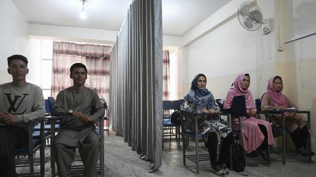 Siswa menghadiri kelas yang dipisahkan oleh tirai yang memisahkan pria dan wanita di sebuah universitas swasta di Kabul pada 7 September 2021, untuk mengikuti keputusan Taliban. (Aamir QURESHI / AFP)